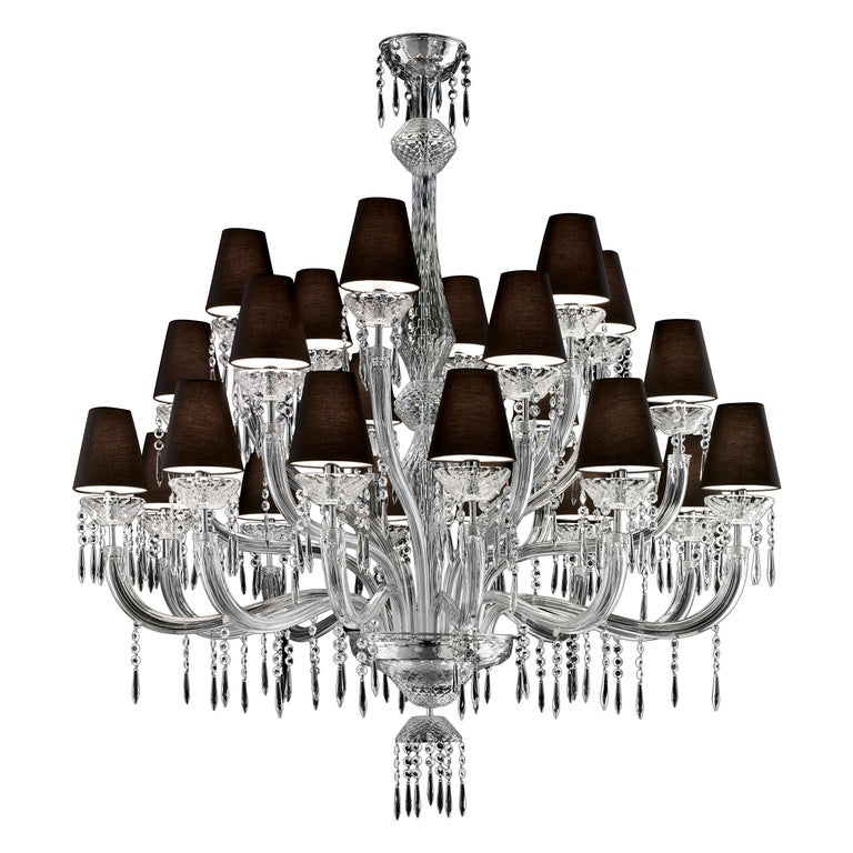 For Sale: Clear (Crystal_CC) President 5695 24 Chandelier in Glass with Black Shade, by Barovier&Toso