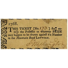 President George Washington Autographed Lottery Ticket
