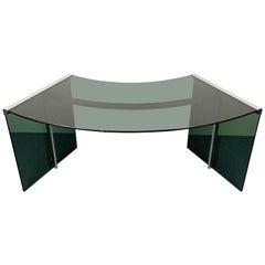 President Junior Desk by Gallotti & Radice, Smoked Glass & Steel, Italy, 1970s