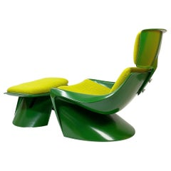 President Lounge Chair with Ottoman by Steen Østergaard for Cado, Denmark, 1970s