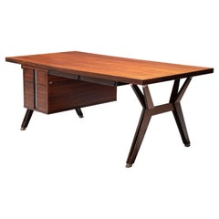 Presidential Writing Desk by Ico Parisi for MIM Roma in Rosewood and Metal