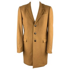 PRESIDENT's Size XL Tan Solid Cashmere Classic Buttoned Coat