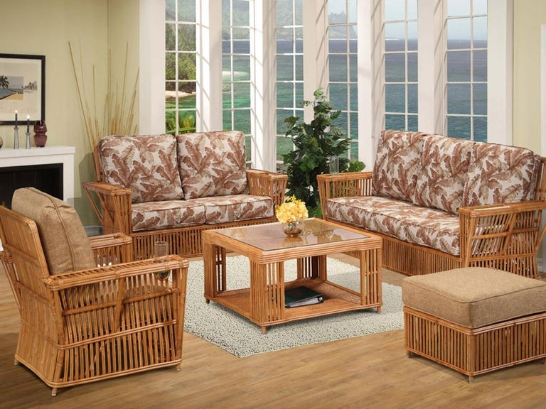 Presidents stick rattan living room set featuring