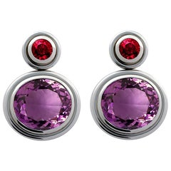 Presious Basics White Gold Earrings with Rubies and Amethysts 20.50 Carat