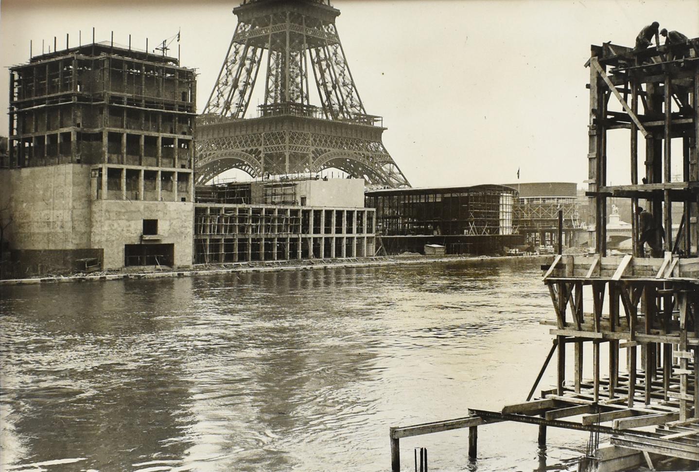 Paris International Exhibition w Eiffel Tower  - Silver Gelatin B & W Photograph