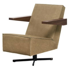 Press Room Chair in Soft Brown Nubuck, Designed in 1958 by Gerrit Rietveld