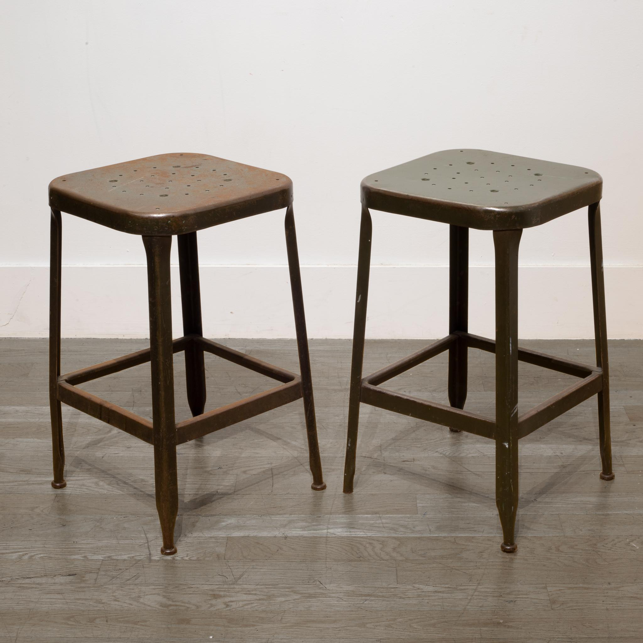 Awe Inspiring Pressed And Folded Steel Factory Stools Circa 1950 At 1Stdibs Machost Co Dining Chair Design Ideas Machostcouk