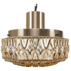 Pressed Glass and Brass, Scandinavian Pendant Light from the 1960s