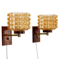 Pressed Glass & Rosewood Wall Lamps 'Pair' 1950s Scandinavian Midcentury Design