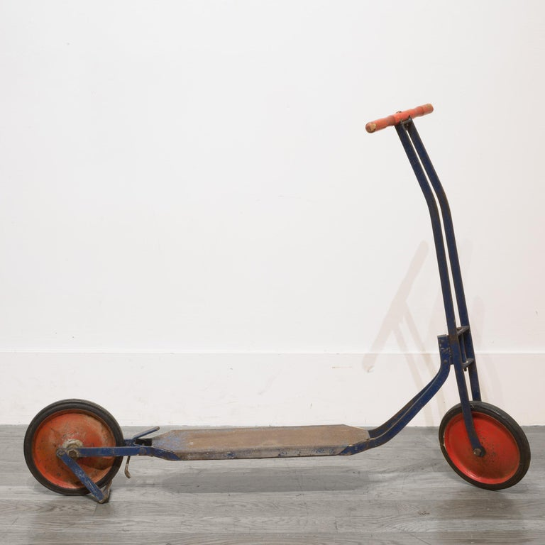 Industrial Pressed Steel Push Scooter, circa 1940 For Sale