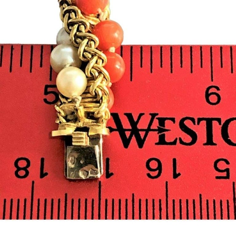 Women's Prestigious French Cartier Twisted Gold, Coral and Pearl Torsade Bead Bracelet For Sale