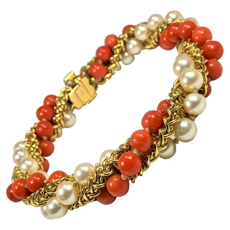 Prestigious French Cartier Twisted Gold, Coral and Pearl Torsade Bead Bracelet For Sale