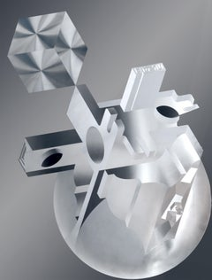 Crystallization of Thoughts, Brushed Steel Wall Hanging by Preston Abernathy