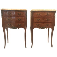 Pretty Pair of French Inlaid Marble-Top Nightstands with Three Drawers