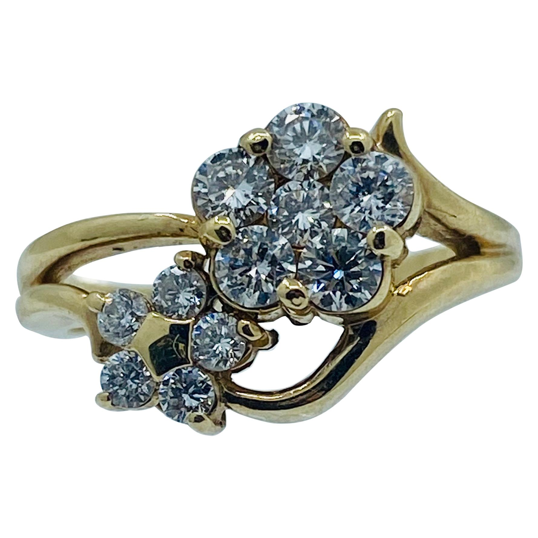 1.35 Carat Diamond Double Flower 18 Karat Yellow Gold Cluster Ring