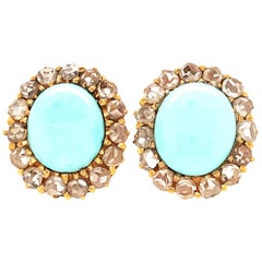 Pretty 18 Karat Yellow Gold Turquoise and Rough Cut Diamond Earrings