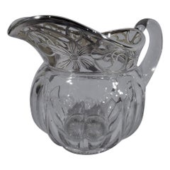 Pretty American Art Nouveau Silver Overlay Glass Pitcher by Heisey