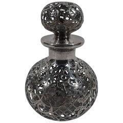 Pretty American Art Nouveau Silver Overlay Perfume Bottle