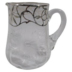 Pretty American Edwardian Art Nouveau Silver Overlay Water Pitcher