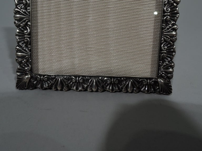 Edwardian Pretty Antique American Sterling Silver Shell-and-Leaf Picture Frame For Sale