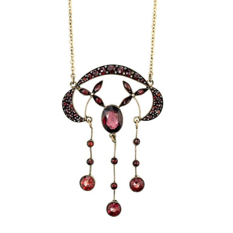 Pretty Antique Bohemian Garnet and Gilt Victorian Necklace