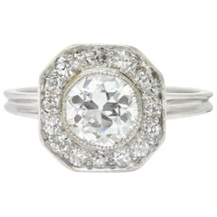 Pretty Art Deco 1.58 Carat Diamond Platinum Halo Engagement Ring