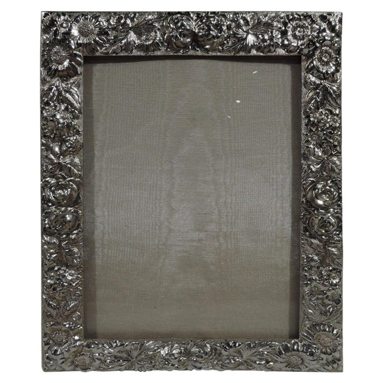 Pretty Baltimore Repousse Sterling Silver Picture Frame by Stieff For Sale