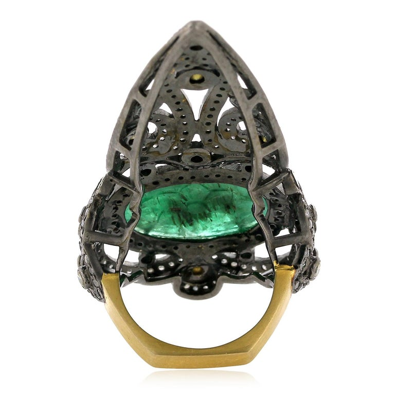 Artisan Pretty Diamond and Carved Emerald Knuckle Ring For Sale