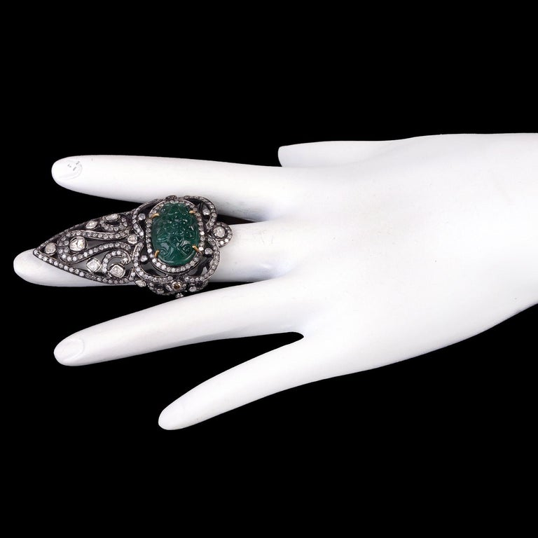 Pretty Diamond and Carved Emerald Knuckle Ring In New Condition For Sale In New York, NY