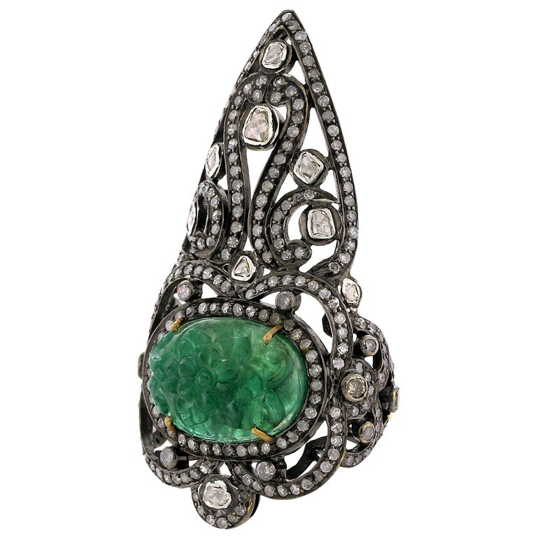 Pretty Diamond and Carved Emerald Knuckle Ring For Sale