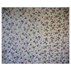 Pretty Floral Block Printed Large Quilt French, 18th Century