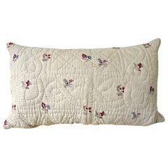 Pretty Floral Block Printed Pillow French, 18th Century