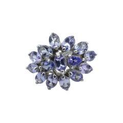 Pretty Flower Tanzanite Ring Set in Silver