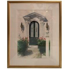 Pretty Framed Original Watercolor of Nantucket Doorway