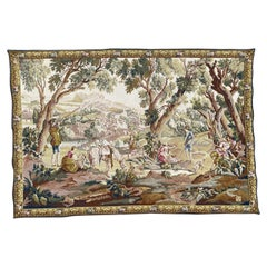 Pretty French Halluin Jaquar Tapestry, Aubusson Style