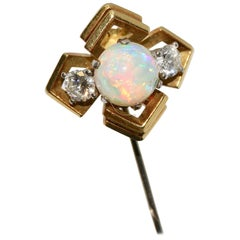 Pretty Gold Pin with Opal and Two Diamond Solitaires
