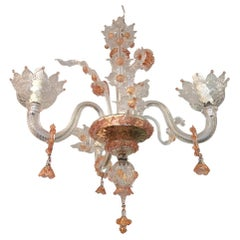 Pretty in Pink Fanciful Murano Glass Chandelier