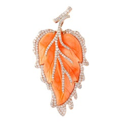 Pretty Leaf Shape Coral Pendant in 18 Karat Gold and Diamonds