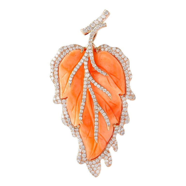 Pretty Leaf Shape Coral Pendant in 18 Karat Gold and Diamonds For Sale