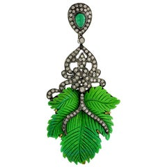 Pretty Leaf Shape Green Turquoise Pendant with Diamonds and Emerald Around