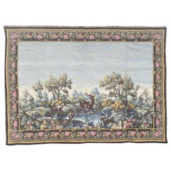 Pretty Mid Century French Aubusson Style Jaquar Tapestry