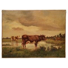 Pretty Oil on Canvas Restored 'Reentele' by Emile van Marcke de Lummen 19th
