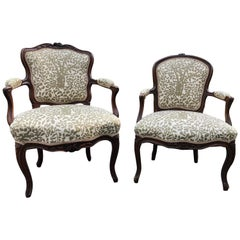 Pretty Pair of French Louis XV His and Her Armchairs