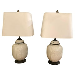 Pretty Pair of White Ceramic Chinese Table Lamps