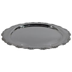 Pretty Scroll and Shell Silver Serving Tray