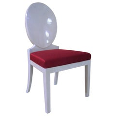 Pretty Shiny Wooden Chair with Upholstered Seat with Fabric