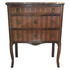 Pretty Small French Inlaid Marquetry Three-Drawer Commode with Marble Top