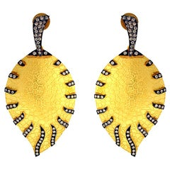 Pretty Textured 18 Karat Gold Leaf Earrings with Diamonds