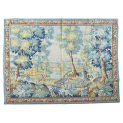 Pretty Vintage Aubusson Style French Hand Printed Robrt Four Tapestry