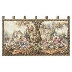 Pretty Vintage Aubusson Style French Jaquar Tapestry